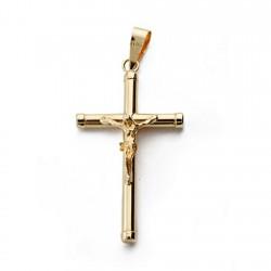 Colgante cruz oro 18k Cristo crucifijo 28mm. palo redondo liso unisex
