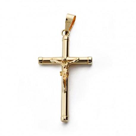Colgante cruz oro 18k Cristo redonda 28mm. [AA0193]