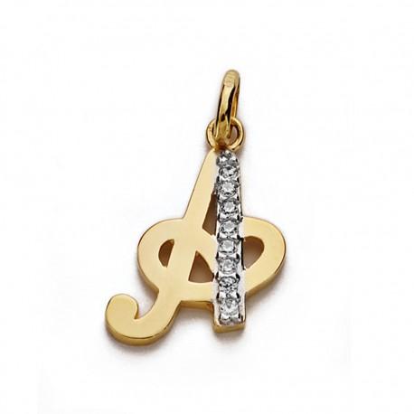 Colgante oro 18k letra A circonitas 15mm. [AA0200]