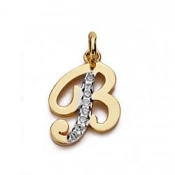 Colgante oro 18k letra B circonitas 13mm. [AA0201]