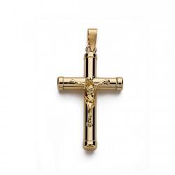 Colgante cruz oro 18k Cristo lisa 25mm. crucifijo palo redondo unisex