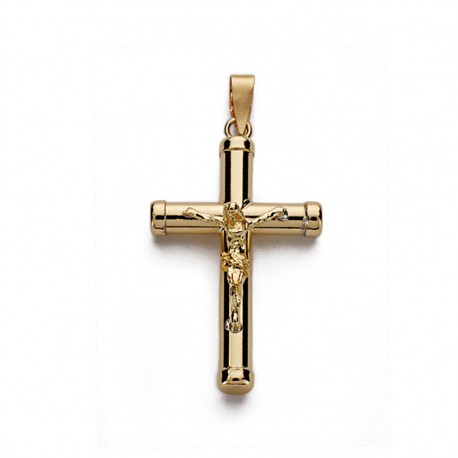 Colgante cruz oro 18k Cristo lisa 25mm. [AA0206]