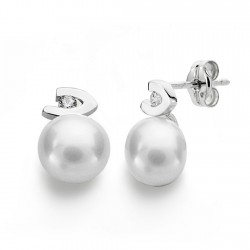 Pendientes oro blanco 18k perlas 7mm. circonitas [AA0233]