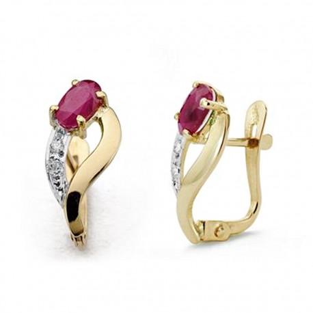 Pendientes oro 18k bicolor rubí y circonitas 15cm. [AA0234]