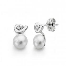 Pendientes oro blanco 18k perlas 6mm. circonitas [AA0237]