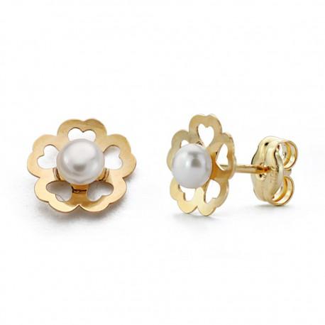 Pendientes oro 18k perla flor 7mm. [AA0244]