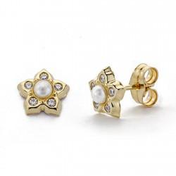 Pendientes oro 18k perla circonitas 7mm. [AA0247]