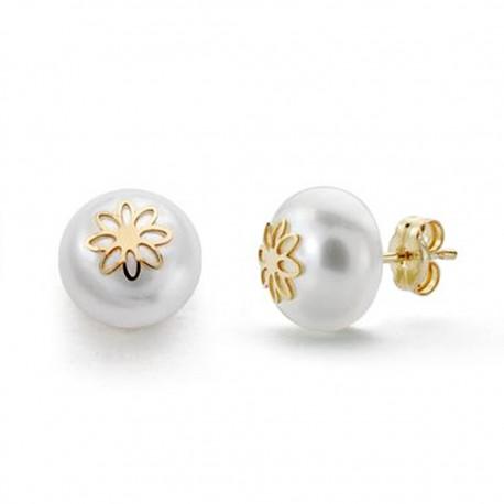 Pendientes oro 18k perla 9mm. flor [AA0248]