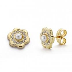 Pendientes oro 18k flor perla y circonitas 8mm. [AA0256]