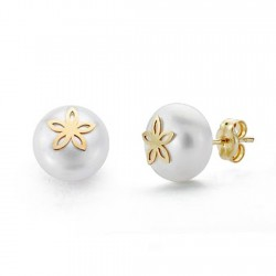 Pendientes oro 18k perla cultivada 9mm. flor [AA0274]