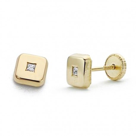 Pendientes oro 18k cuadrado circonita 5mm. [AA0284]