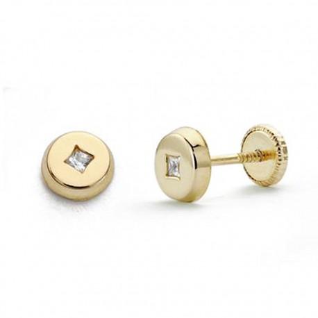 Pendientes oro 18k redondo circonita 5mm. [AA0285]