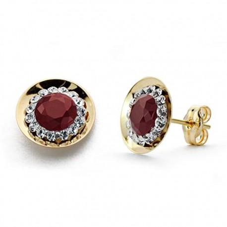 Pendientes oro 18k piedra color roja circonitas 10mm. [AA0296]
