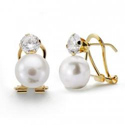 Pendientes oro 18k perla 8mm. garra circonita [AA0300]
