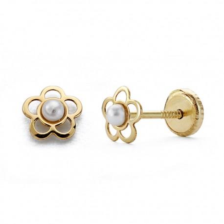 Pendientes oro 18k flor perlita 5mm. [AA0317]