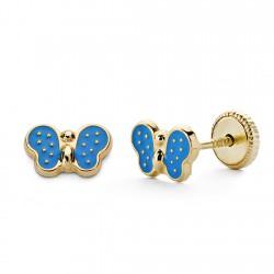 Pendientes oro 18k mariposa esmalte azul 7mm. [AA0327]