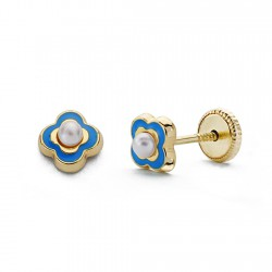 Pendientes oro 18k perla esmalte azul 5mm. [AA0330]