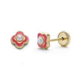 Pendientes oro 18k perla esmalte rosa 5mm. [AA0331]