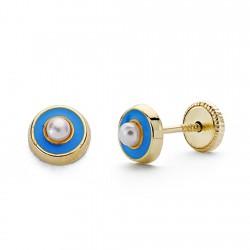 Pendientes oro 18k perla esmalte azul 5mm. [AA0332]