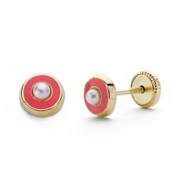 Pendientes oro 18k perla esmalte rosa 5mm. [AA0333]