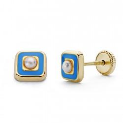 Pendientes oro 18k perla esmalte azul 5mm. [AA0334]