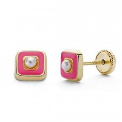 Pendientes oro 18k perla esmalte rosa 5mm. [AA0335]