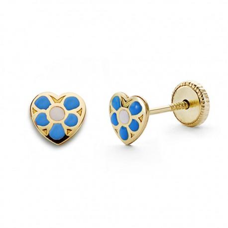 Pendientes oro 18k corazón azul 5mm. [AA0338]