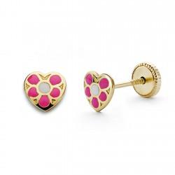 Pendientes oro 18k corazón rosa 5mm. [AA0339]