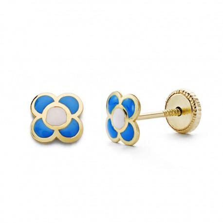Pendientes oro 18k flor azul 6mm. [AA0340]