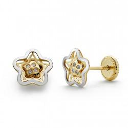 Pendientes oro 18k bicolor estrella circonita 7mm. [AA0345]