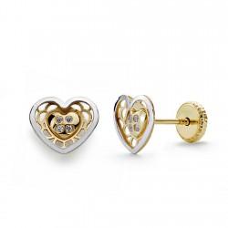 Pendientes oro 18k bicolor corazón circonita 7mm. [AA0347]