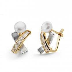 Pendientes oro 18k bicolor perla botón circonitas 15mm. [AA0350]