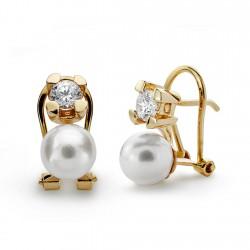 Pendientes oro 18k garra perla cultivada 7.5mm. [AA0356]