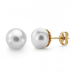 Pendientes oro 18k perla botón 10mm. [AA0358]
