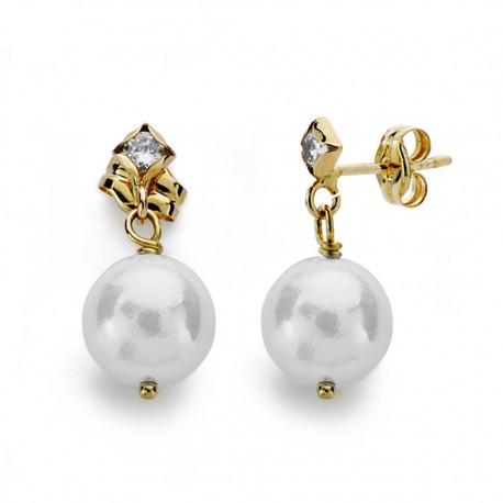 Pendientes oro 18k perla 8mm. circonita [AA0375]