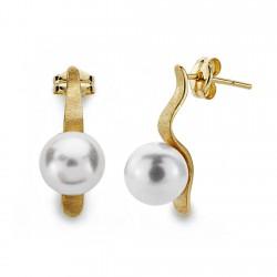 Pendientes oro 18k perla 8mm. largos [AA0377]