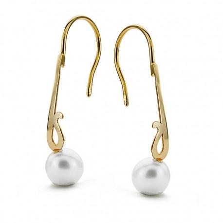 Pendientes oro 18k perla 6mm. largos [AA0379]