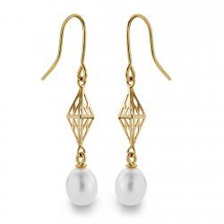 Pendientes oro 18k perla 7mm. largos [AA0381]