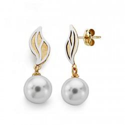 Pendientes oro 18k bicolor perla 8mm. largos [AA0391]
