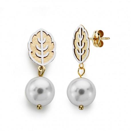 Pendientes oro 18k bicolor perla 8mm. largos [AA0392]