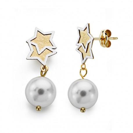 Pendientes oro 18k bicolor perla 8mm. largos [AA0393]