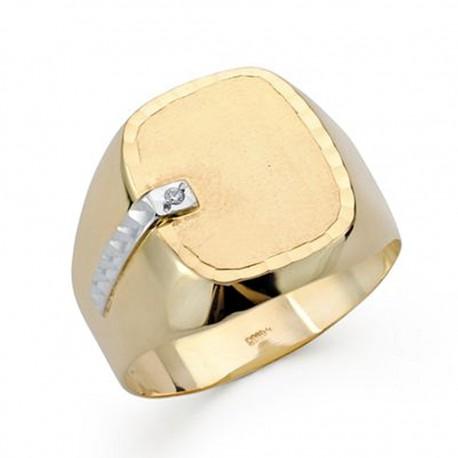 Sello oro 18k bicolor caballero circonita [AA0416]