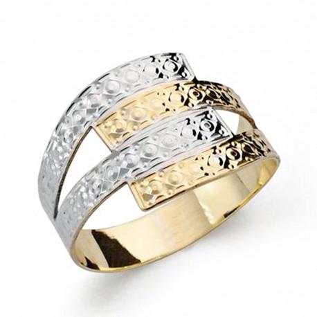 Sortija oro 18k bicolor tallada [AA0423]