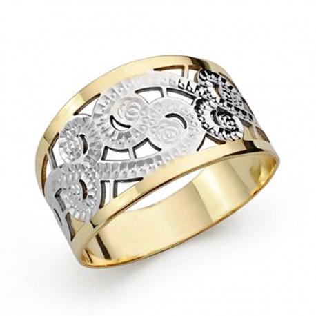 Sortija oro 18k bicolor tallada [AA0424]