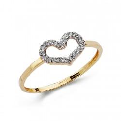 Sortija oro 18k corazón circonitas [AA0437]