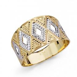 Sortija oro 18k bicolor tallada 11mm. [AA0442]
