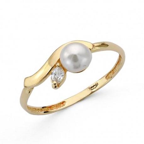 Sortija oro 18k comunión perla circonita [AA0502]