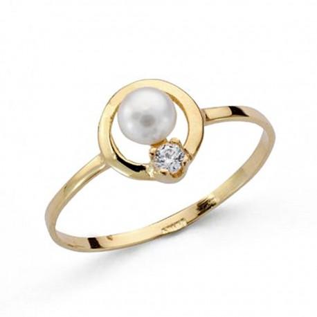 Sortija oro 18k comunión perla circonita [AA0504]