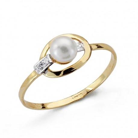 Sortija oro 18k comunión perla [AA0505]