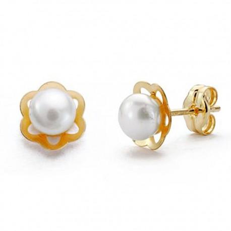 Pendientes oro 18k juego comunión perla flor 7mm. [AA0506]